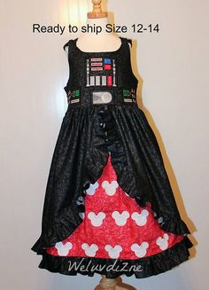 Hey, I found this really awesome Etsy listing at https://www.etsy.com/listing/279670450/rts-size-12-14-girls-dark-vader-dress