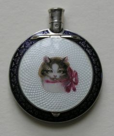 Austrian Enameled Cat 900 Silver Compact and perfume (twist off at top)