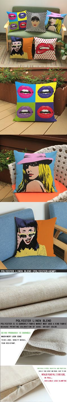 luxury home decoration outdoor Car sofa chair seat cushion cushions pillow With American animation Pop 45*45cm pattern printing $6.55