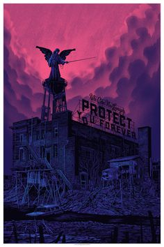 """tinymediaempire:  """"we can no longer protect you forever.""""by Daniel Danger24x36"""" five color screenprint. 2014Thursday 8/21/14: im posting thi..."""