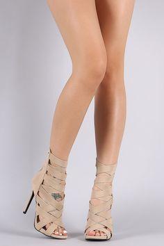Suede Elasticized Woven Strappy Stiletto Heel