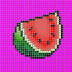 Fruta. Verano. Sandía. Summer fruit Watermelon perler beads, hama beads, bead sprites, nabbi fuse melty beads pattern by 8bitofeverything