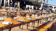 Mesas plegables Qualyline, mesas plegables de madera para eventos