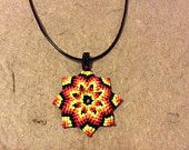 Flower Mandala pendant of macrame. ZEN style pendant for good fortune. Meditation jewelry. Boho, hipie, chic, gift. Genuine Leather Chain