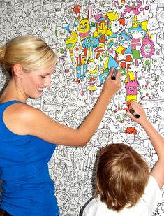 Perfect for bedrooms, offices, studios and playrooms. The colour in wallpaper is a fun activity for artisans and obsessive compulsives of all ages. The design of doodle characters across the wallpaper and looks eye catching even when not coloured in. Give in to your inner child and colour in your walls!      Make it a Haring and it will be in my office next week!