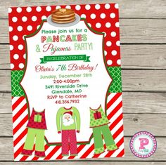 Pancakes and christmas pajamas party birthday party invite christmas party invitation pancakes and pajamas birthday party invitation by party posh printables christmas filmwisefo Gallery