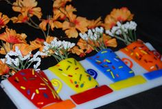 Hanging Wall Vase: Four Mini Coffee Cups in Red, Yellow, Blue, and Orange Slumped Glass, Fused Glass Art, Mosaic Glass, Glass Vase, Glass Flowers, Fresh Flowers, Silk Flowers, Hanging Wall Vase, Mini Coffee Cups