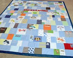 Quilt made from baby clothes
