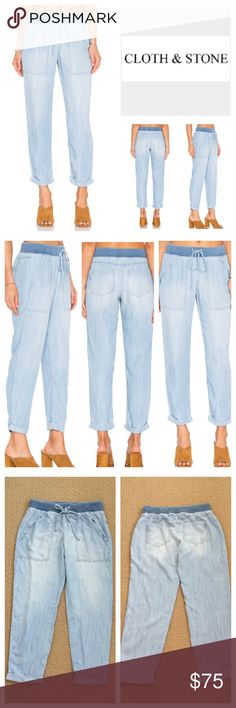 """Anthropologie Cloth & Stone Pocket Pants.  NWOT. Anthropologie Cloth & Stone Folded Pocket Pants, 100% tencel, machine washable, 30"""" elastic drawstring waist which stretches up to 37"""", 10"""" front rise, 14"""" back rise, 27.5"""" inseam, 13"""" leg opening all around, side slant pockets, two back patch pockets, elasticized banded drawstring, cuffed hem, measurements are approx.  New without tag, never worn.  NO TRADES Anthropologie Pants"""