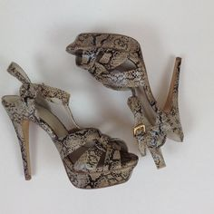 Cream and Black Snakeskin Sandals Lovely strappy sandals in cream and black snakeskin print. 5-inch heel. Excellent condition. ❌NO TRADES❌ City Streets Shoes Sandals