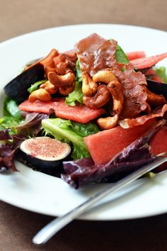 Fig & Watermelon Salad with Honey Vanilla Cashews by Michelle Tam http://nomnompaleo.com