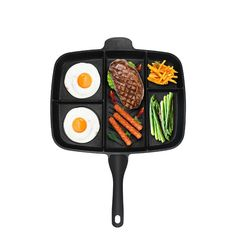 Multi Fryer Pan Non-Stick 5 in 1 Fry Pan Divided Grill Fry Oven Meal Skillet Black 5 in 1 Grill pan Frying Pans & Skillets Small Kitchen Pantry, Kitchen Cook, Grill Oven, Oven Pan, 1. Tag, Non Stick Pan, Pli, Best Breakfast, Breakfast Skillet