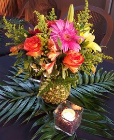 Tropical Pineapple Centerpiece - Palm Leaves - Votive Candles in Coffee Beans