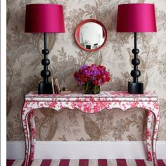 OH SO PRETTY IN HOT PINK lamps + Pollock-style painted table