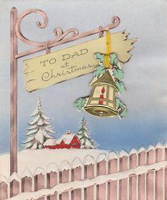 Vintage Christmas Card Fence Post Die Cut Lantern Trim Dad 1940s | eBay