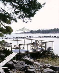 "For years my Mom and I have talked about the ""lake house"" in reference to a future lake house we will someday own. When we go to yard sales. Outdoor Rooms, Outdoor Gardens, Outdoor Living, Lakeside Living, Lakeside Terrace, Summer Cabins, Cottage Living, My Dream Home, Beautiful Places"
