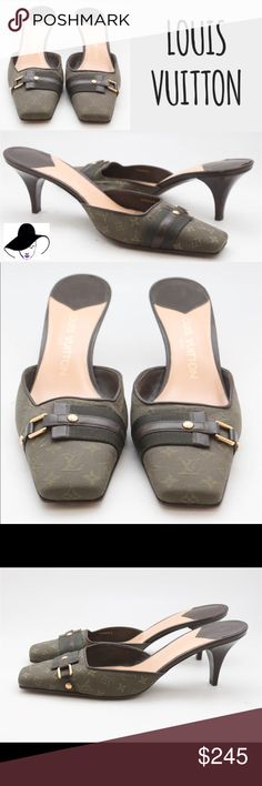 """Louis Vuitton 'Mini Lin' Monogram Mules 40 AR0044 Louis Vuitton Dark Khaki 'Mini Lin' Monogram Canvas Mules IT 40 / US 10 AR0044 $245 BRAND : Louis Vuitton MATERIAL :  Canvas COLOR :  Dark khaki, monogram print  SIZE :  IT 40 / US 10  WIDTH :  -  HEEL : 3""""   BOOT HEIGHT/OPENING :   - DESCRIPTION :    CONDITION : Shoes are in good pre-owned condition showing some signs of wear.  NOTES:  Measurements are taken in inches and have been doubled where appropriate.  Please see photos for further…"""