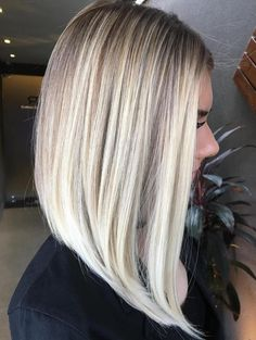 Long Angled Blonde Balayage Bob