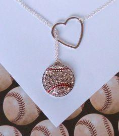 Baseball Lariat Necklace with Rhinestones and Heart, handmade jewelry.. so amazing.