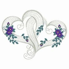 Rippled Floral Hearts Set, 10 Designs - 3 Sizes! | Valentine's Day | Machine Embroidery Designs | SWAKembroidery.com