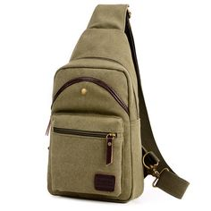 Casual Vintage Chest Bag Canvas Crossbody Bag Solid Shoulder Bag For Men