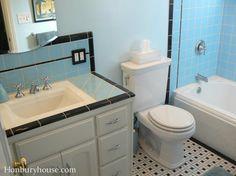 Retro black and blue tile bathroom at hanburyhouse.com.  A new 1940s bathroom, but built in 2012.