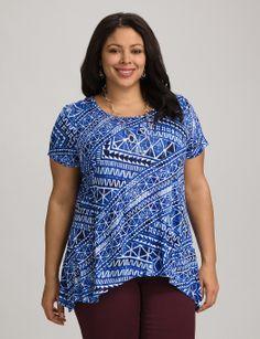 Plus Size | Tops | Plus Size Blue Ethnic Print Top | dressbarn