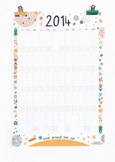 Calendar 2014 Wall Planner Space Themed Solar by SamOsborneStore, Wall Planner, Calendar 2014, Solar System, Illustrations Posters, Innovation, Cool Designs, Bullet Journal, Poster Designs, Planners