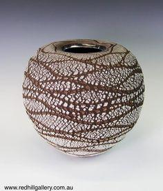 Bill Powell 'Gloss White Textured Blossom Vase with Platinum Lustre' 30x30cm. 61 Musgrave Road, Red Hill Brisbane, QLD, Australia. art@redhillgallery.com.au