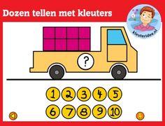 Dozen tellen met kleuters op digibord of computer op kleuteridee.nl, Kindergarten math game for IBW or computer