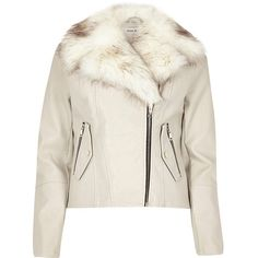 River Island Stone faux fur trim biker jacket ($130) ❤ liked on Polyvore featuring outerwear, jackets, pocket jacket, snap jacket, river island, moto jackets and long sleeve jacket