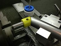Homemade tube notcher constructed from steel stock, bushings, shafting, and a hole saw. Homemade Tube, Steel Stock, Hole Saw, Machine Tools, Cool Cars, Workshop, Ideas, Atelier, Work Shop Garage