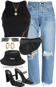 Discover outfit ideas for made with the shoplook outfit maker. How to wear ideas for yeezy season 8 black and Levi's® Wedgie High Waist Teen Fashion Outfits, Edgy Outfits, Mode Outfits, Retro Outfits, Cute Fashion, Look Fashion, Teenage Outfits, Girl Outfits, Summer Outfits