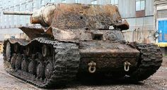 Tank KV-1 retrieved from the bottom of the river Neva