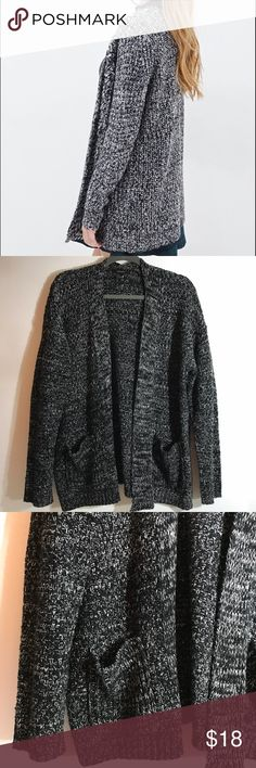 forever 21 • marled black and white knit cardigan condition:  worn 3-4 times, great condition  retail: $29  Open knit black and white marled cardigan.  Medium weight and warm.  Looks awesome just in a simple tee, plaid blanket scarf, and black boots.  Cut off fabric tag, but I assume it's acrylic or acrylic and polyester blend.  Pockets!   NO TRADES  trusted seller for years • ships quickly great feedback • REASONABLE offers welcome - no lowballing Forever 21 Sweaters Cardigans