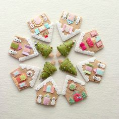 Gingerbread Houses Instant Download pdf Pattern by Gingermelon