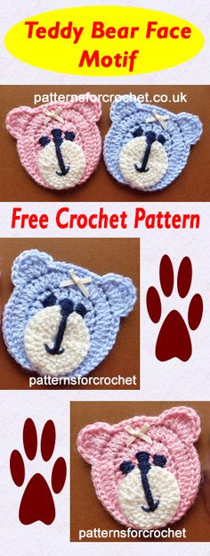 Teddy bear applique, free crochet pattern. #crochet