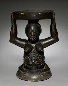 Central Africa, Democratic Republic of the Congo,Luba , early 20th century, wood, Overall - h:43.80 cm (h:17 3/16 inches). Gift of Katherine C. White 1969.9