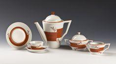 Nora Gulbrandsen for Porsgrund Porselen. Date 1929 Machine Age, Tea Set, Bowl Set, Art Deco, Sculpture, Tableware, Norway, Design, Scale Model