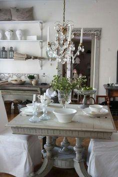 French farmhouse- white shelves/brackets