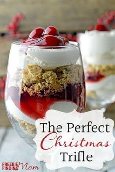 Cherry Cheesecake Trifle Dessert - Layers of crumbled graham crackers, whipped cream and cherry pie filling make this the perfect Christmas triple recipe.  This delicious Christmas dessert  is simple to make but impressive to serve. by rhonda.white.52206