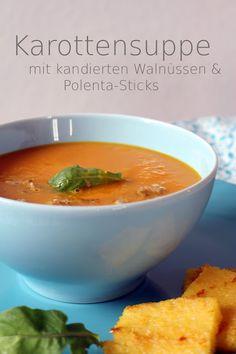 Tulpentag: Karottensuppe mit kandierten Walnüssen und gerösteter Polenta #Suppe #Herbst