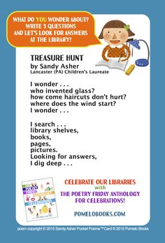 """Treasure Hunt"" by Sandy Asher for Children's Book Week in May from THE POETRY FRIDAY ANTHOLOGY® FOR CELEBRATIONS edited by Sylvia Vardell and Janet Wong (Pomelo Books, 2015)"