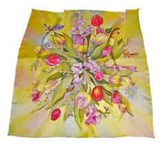 Hand painted floral square silk scarf Euphoria. 3434in by OntuO