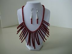 Swarovski crystal necklace with hanging Czech bead strands, sterling findings.
