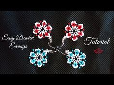 Flower seed bead earrings - tutorial List of materials: 11/0 seed beads of 3 colours (red, black and white) earring findings thread of your choice (fireline ...