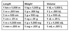 Metric Measurement Conversion Chart For Kids