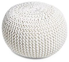 Kelli Knitted Pouf White