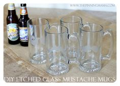 Grooms mens gifts exactly what I was looking for  Father's Day Gift DIY Glass Etched Mustache Mugs by www.thepinningmama.com