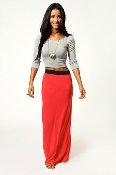 Contrast-Band Maxi Skirt